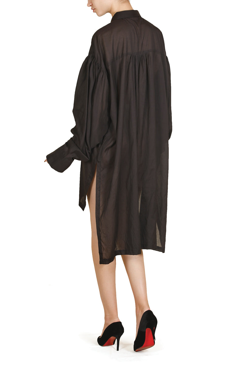 Gathered-Sleeve Asymmetric Dress
