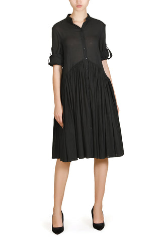 Inverted-Pleats Dress