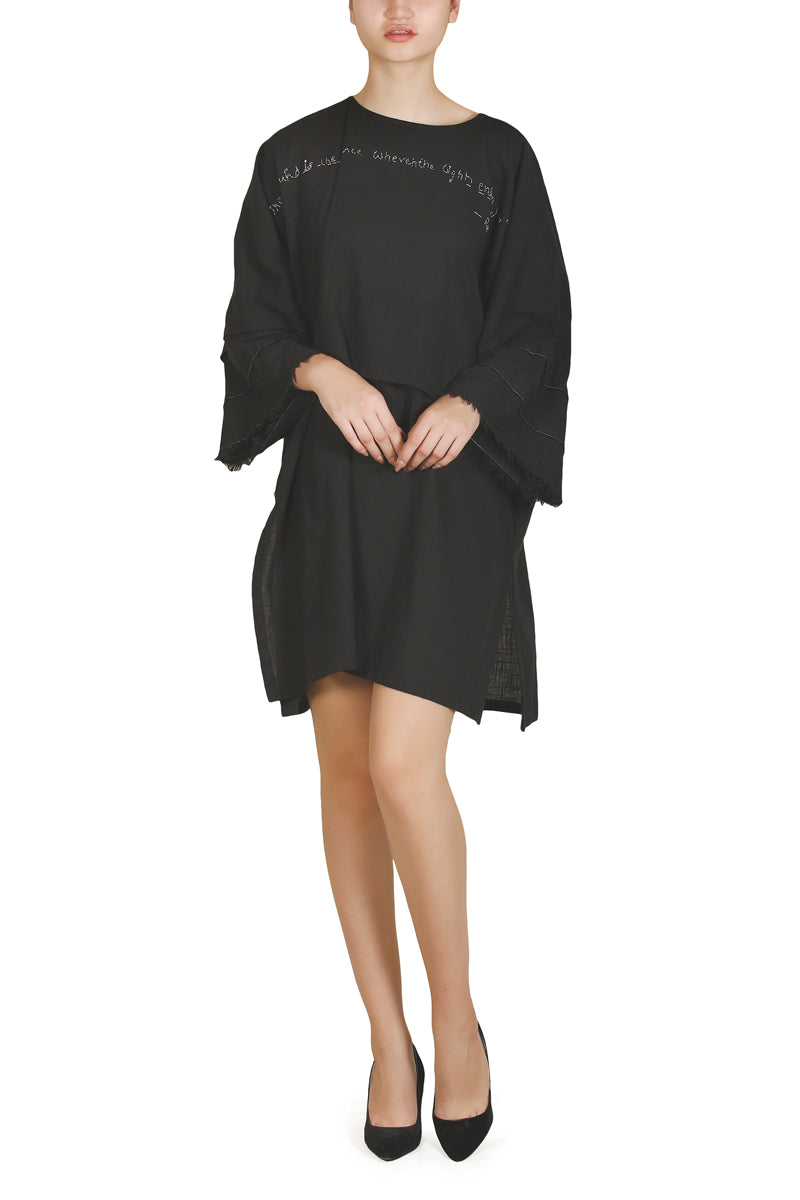 Frayed-Sleeve Dress