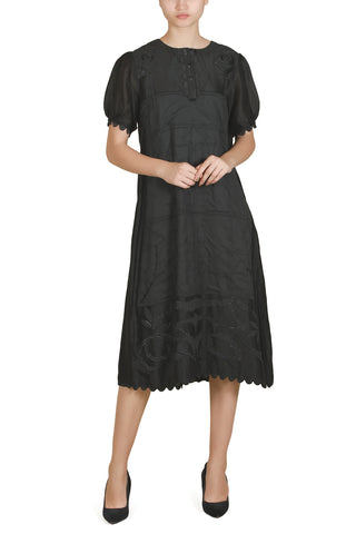 One-Side Pleated Embroidered Dress