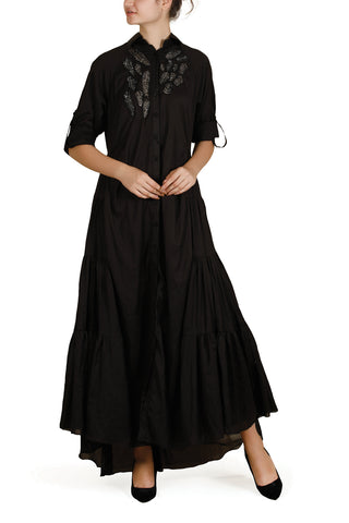 Asymmetric Embroidered Dress