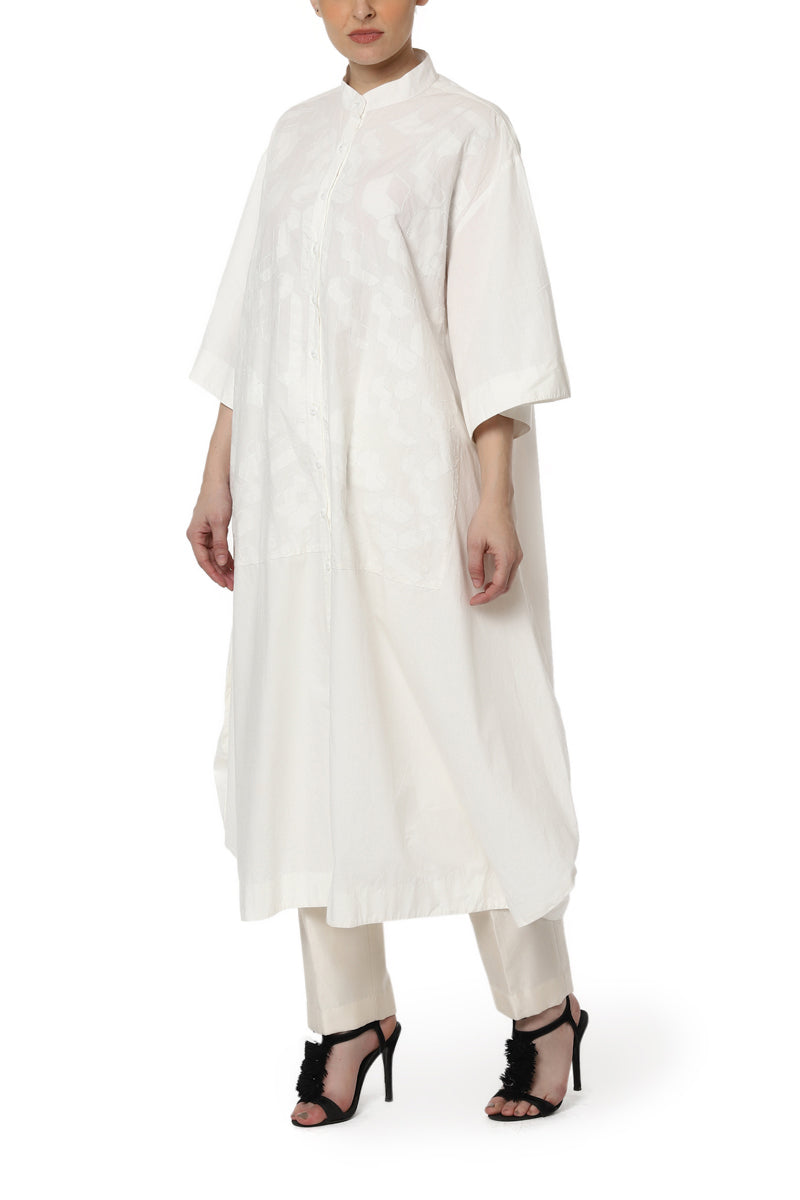 Patchwork Kurta with Mandarin Collars