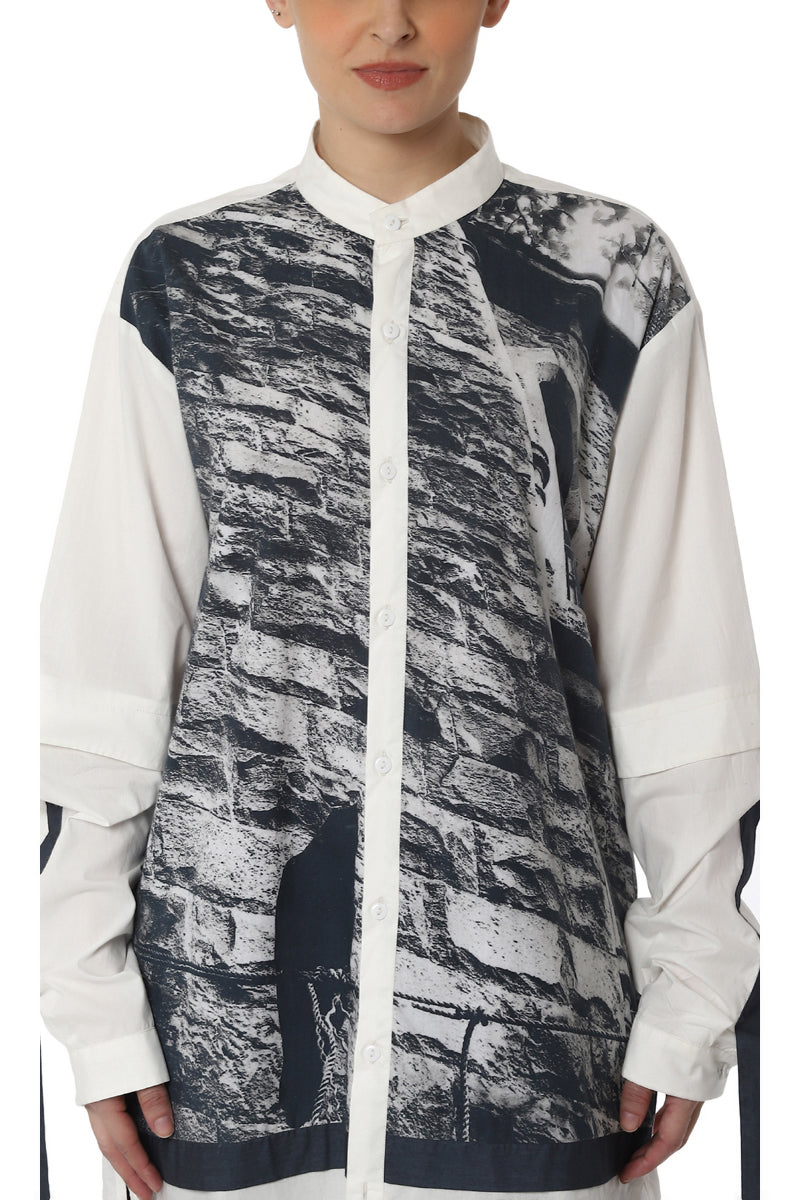 Digitally Printed Shirt with Sleeve Detailing