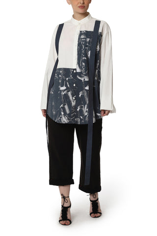 Patchwork Shirt with Flared Sleeves