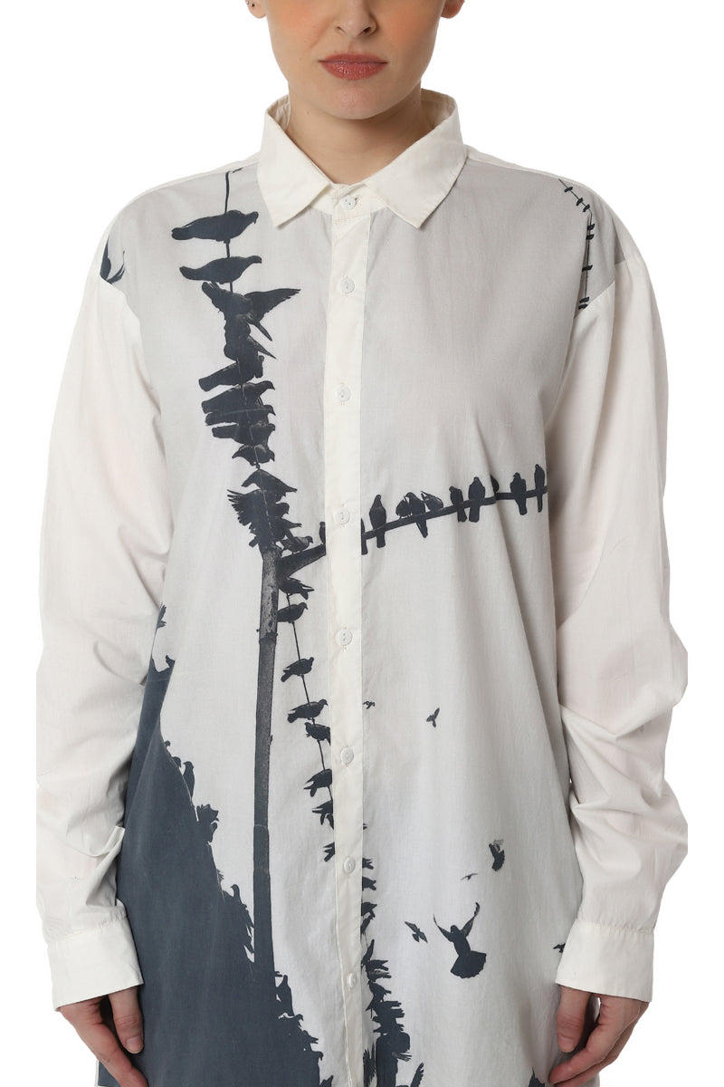 Digitally Printed Shirt with High Low Hemline