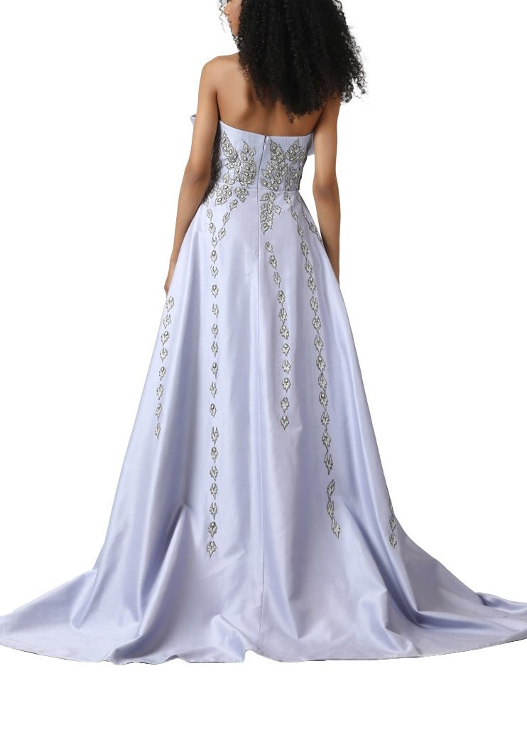 Asymmetrical hem off shoulder gown