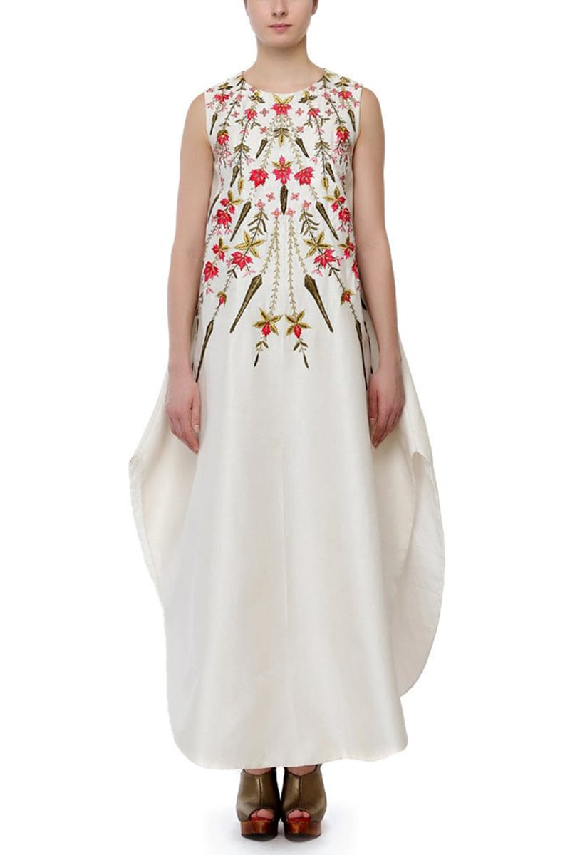 Embroidered Curved Hemline Dress
