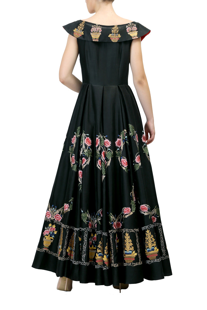 Embroidered Boat-Neck Gown