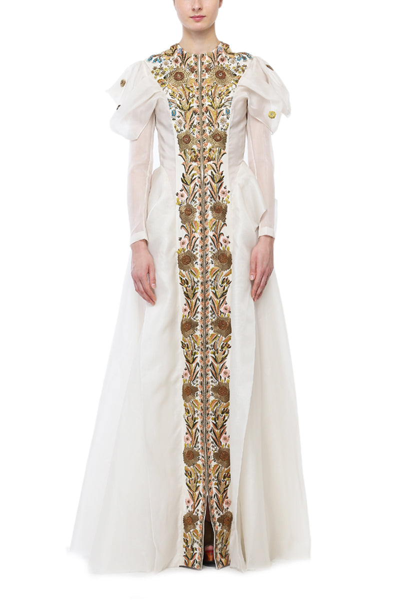 Elongated Puff-Sleeves Embroidered Gown