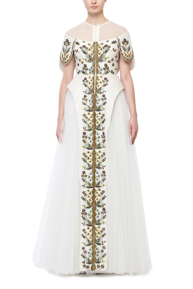 Embroidered Paneled Gown.