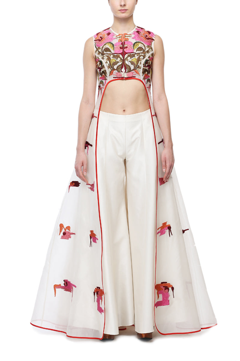 Embroidered Jacket Gown with Flared Pants