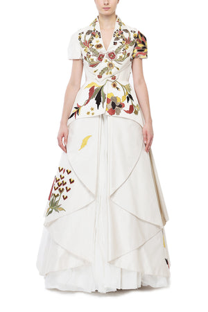 Overlap Paneled Embroidered Gown