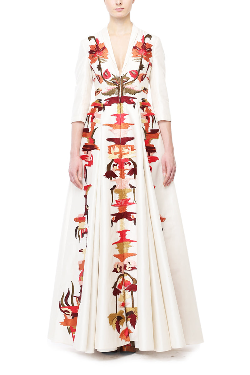 Abstract Embroidery Gown