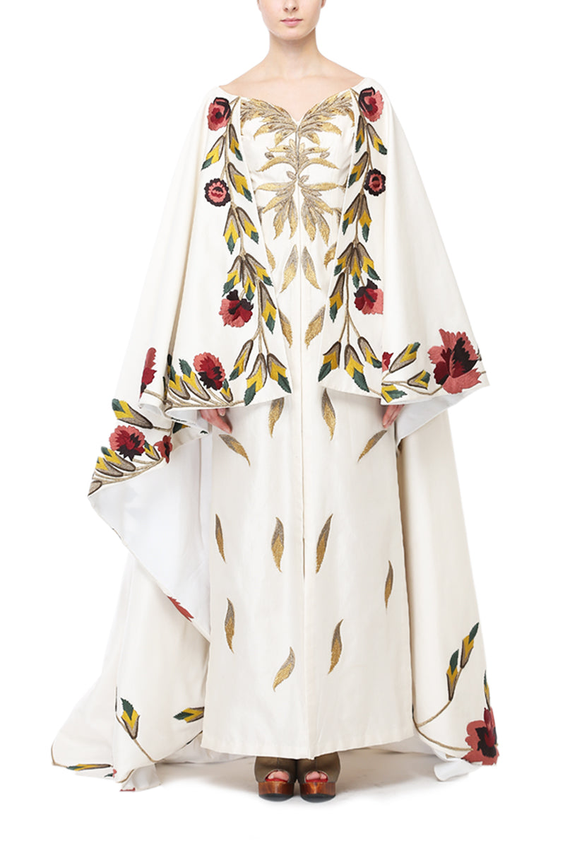 Cape Style Embroidered Gown