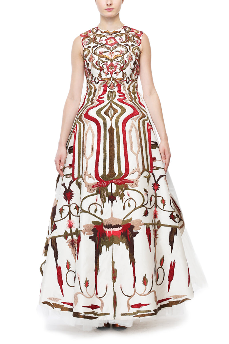 Geometric & Floral Embroidered Gown