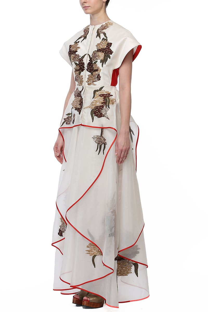 Fit & flare Asymmetric Embroidered Gown