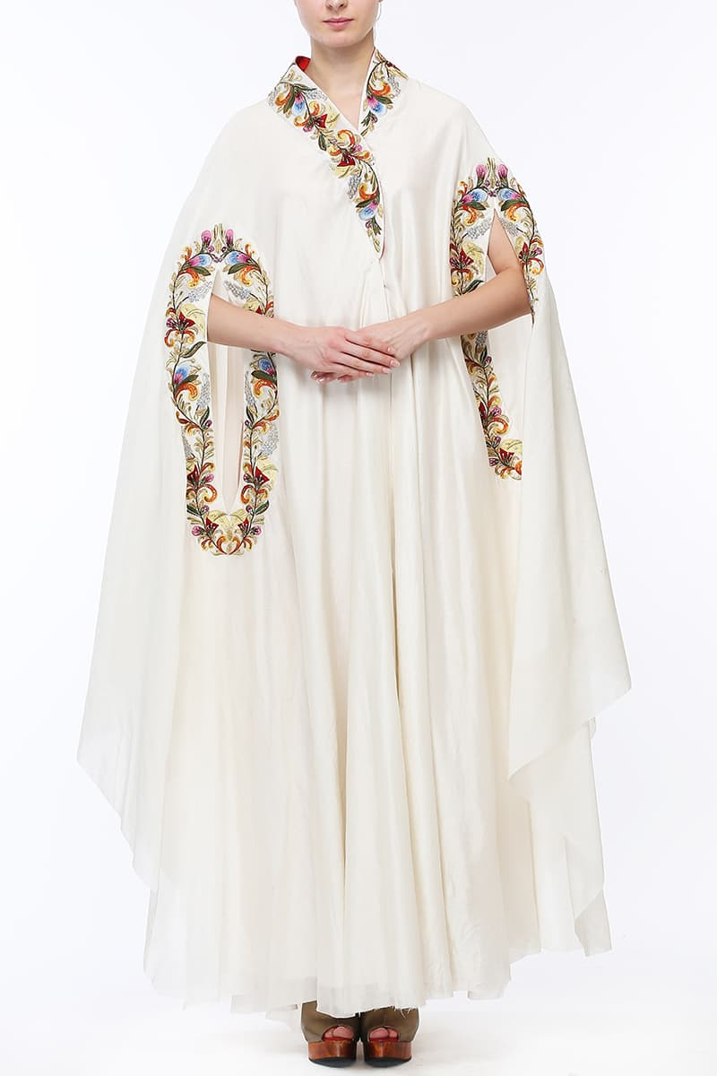 Lapelled-Collared Embroidered Kaftan