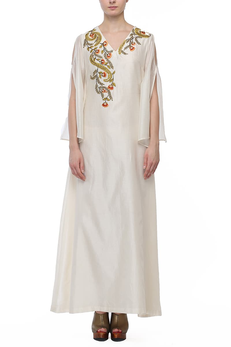 Cut-out Sleeves Embroidered Kurta