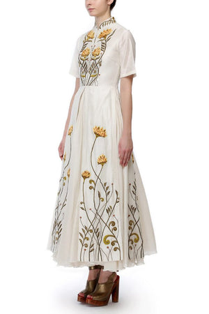 Mandarin Collar Embroidered Dress