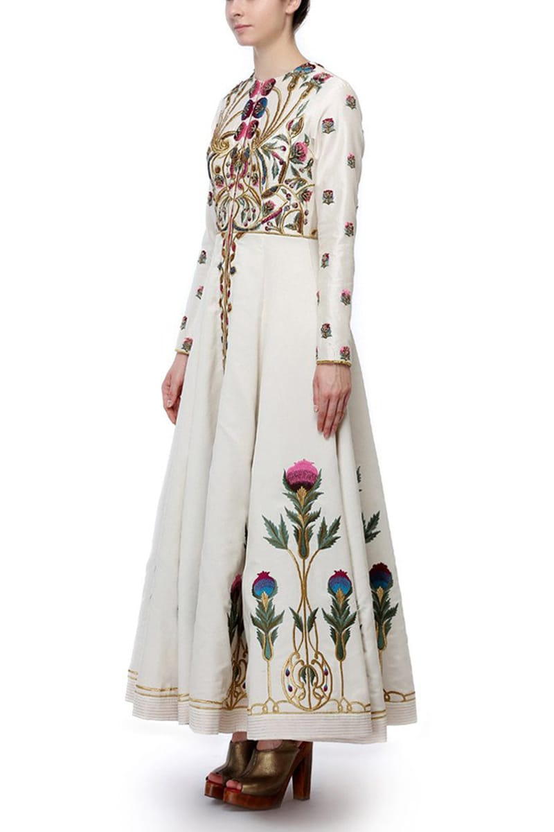 Collared Fit & Flare Embroidered Gown.
