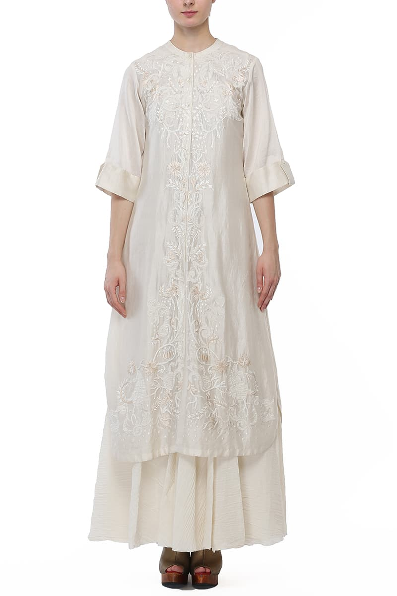 Front-opening Embroidered Kurta & Inner