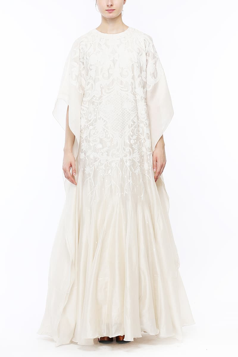 Panelled Floor-length Embroidered Kaftan