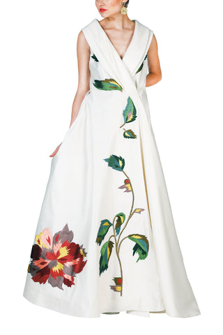 Cold-Shoulder Embroidered Gown