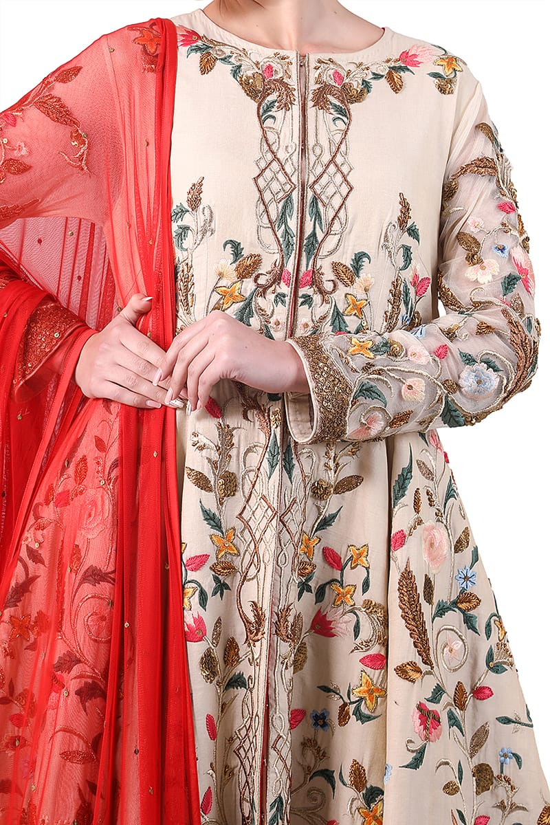 Floral Embroidered Kurta & Dupatta