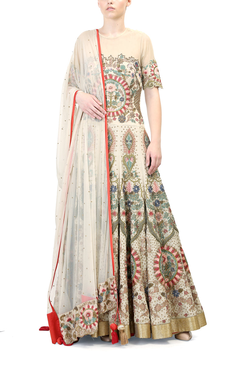 Embroidered Gown & Dupatta