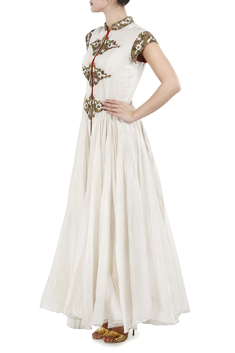 Floor-Length Embroidered Dress