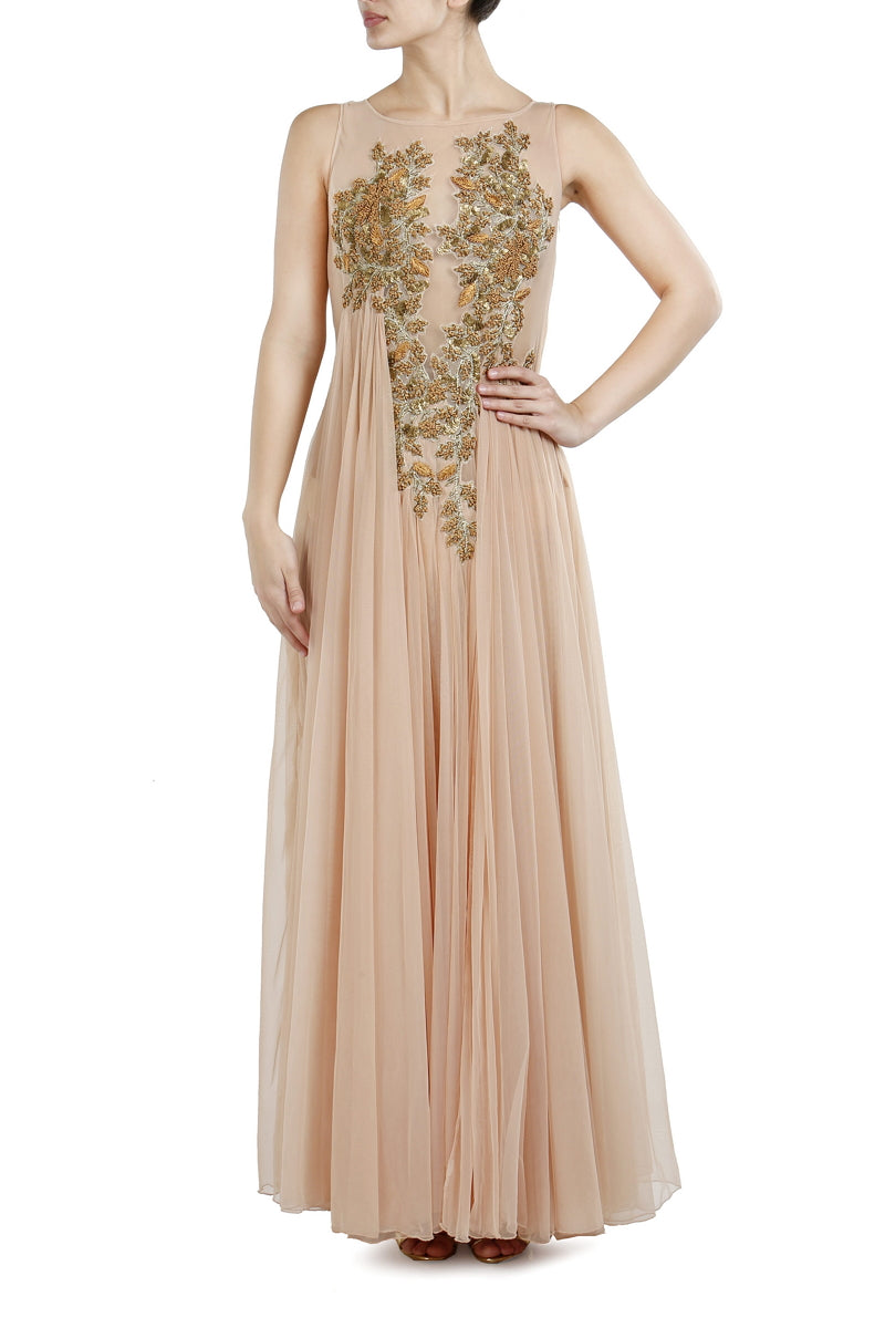 Floor Length Embroidered Gown