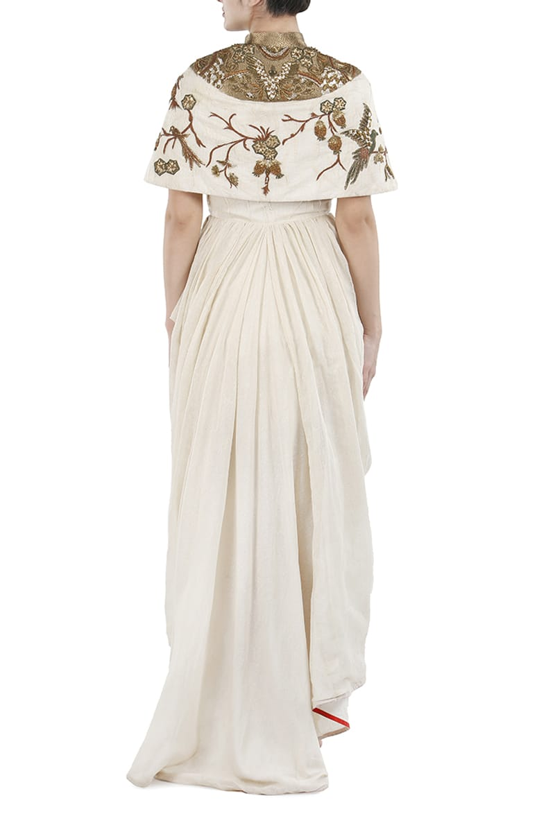 Draped Cape style Embroidered Dress