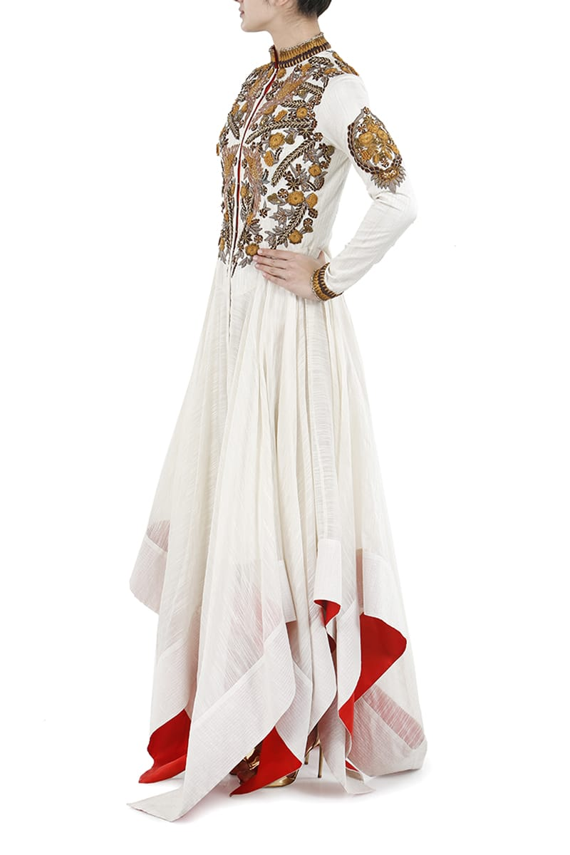 Asymmetric Fit & Flare Embellished Gown