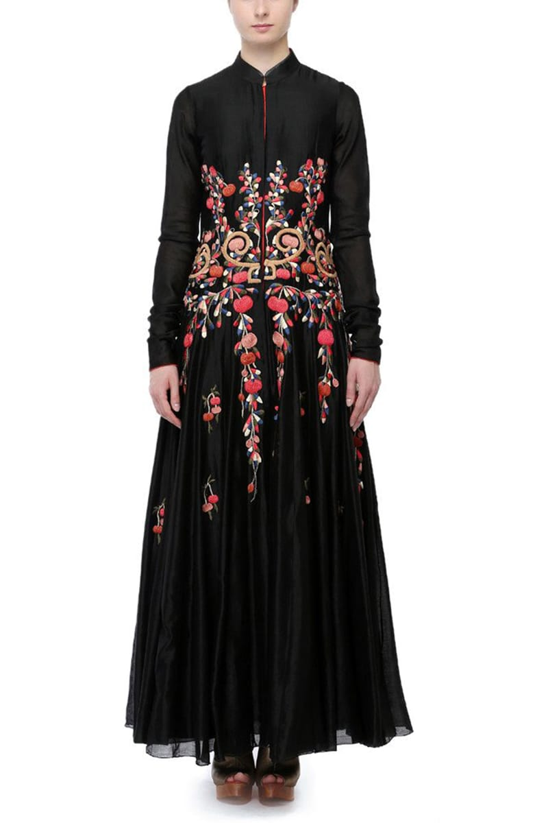 Front-opening Embroidered Gown
