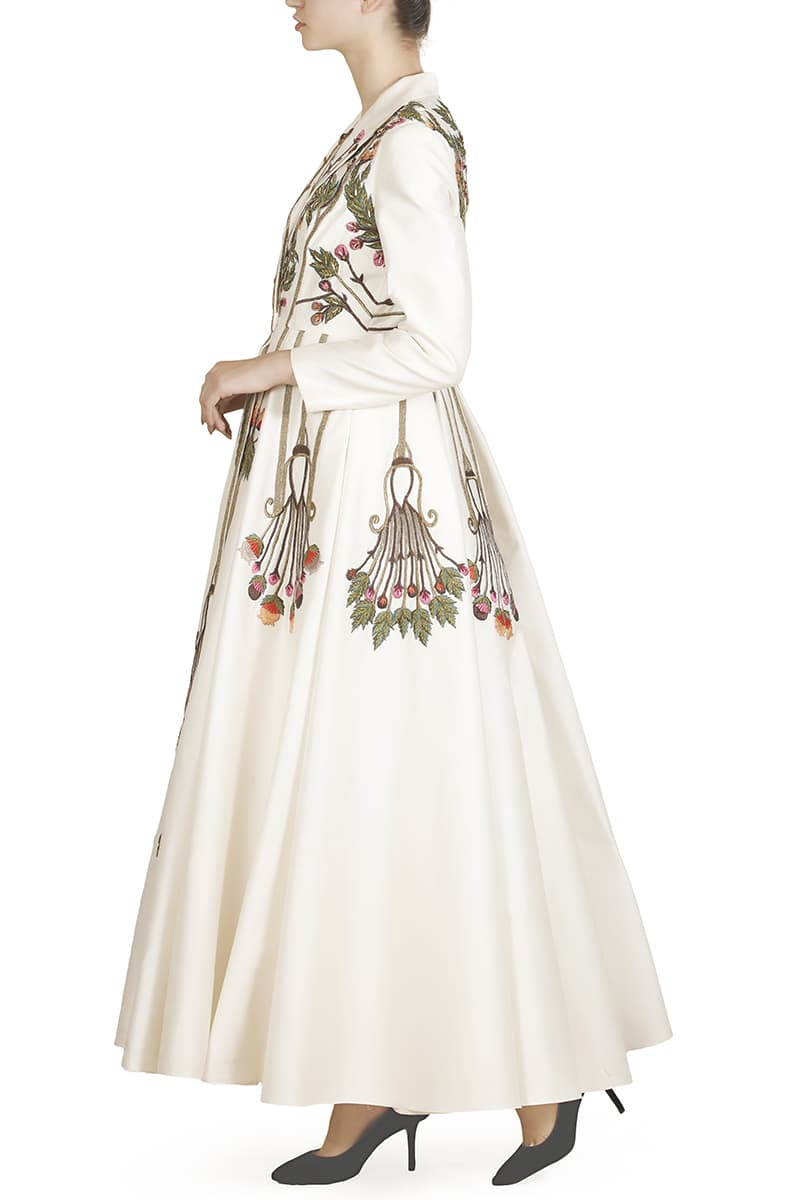 Mandarin-collared Embroidered Jacket Gown