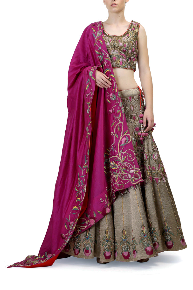 Sleevless Blouse & Lehenga set