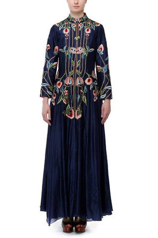Floral Embroidery Overlap Neck Gown