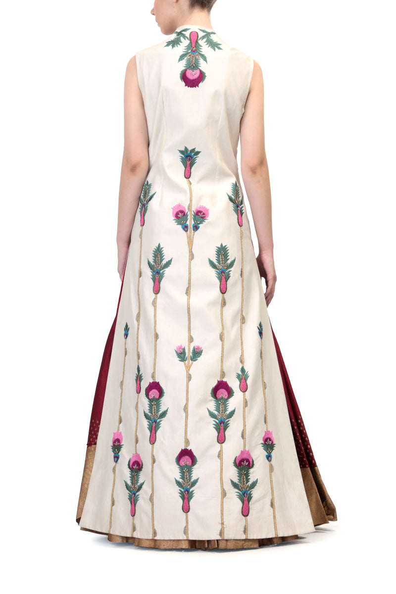 Front-opening Embroidered Jacket Kurta with block printed skirt