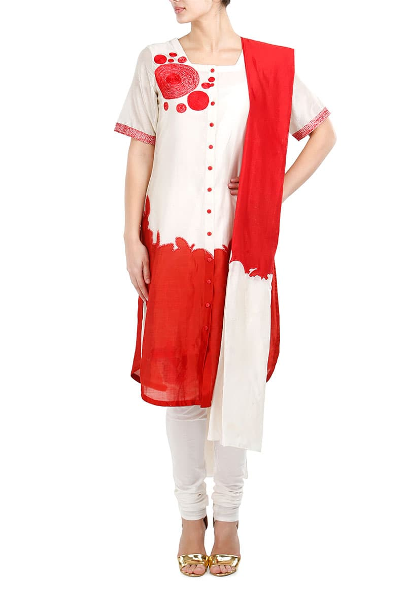 Thread Work Button-down Kurta