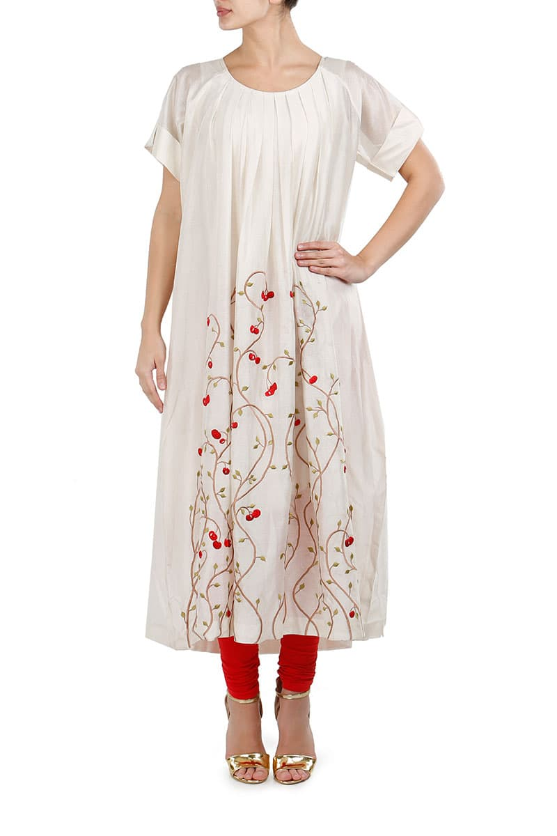 Pleated Neckline Embroidered Kurta