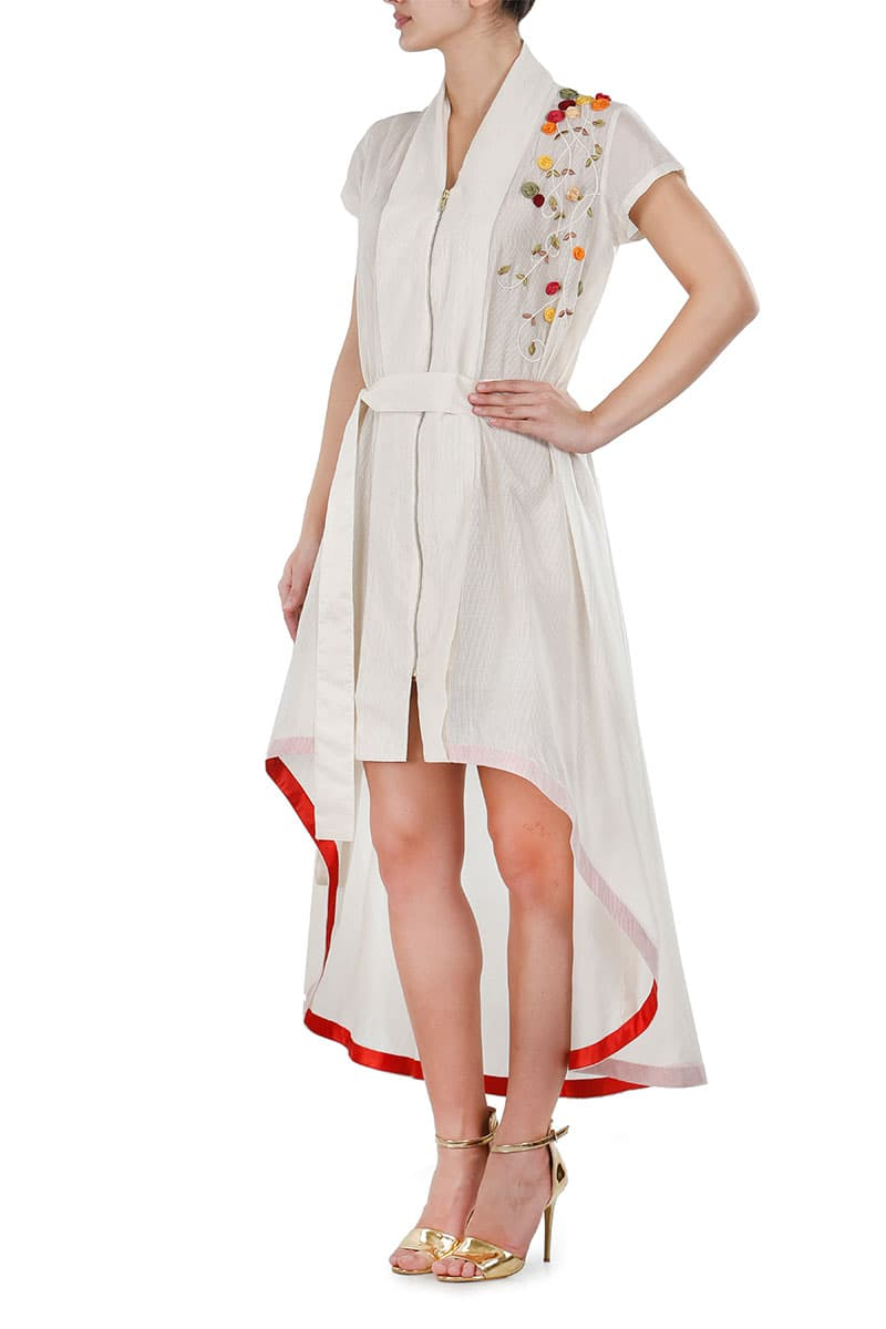 Asymmetric front Tie-up Robe style Dress
