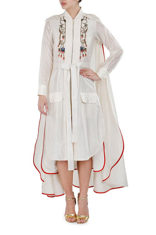 Button-down Tiered Embroidered Dress