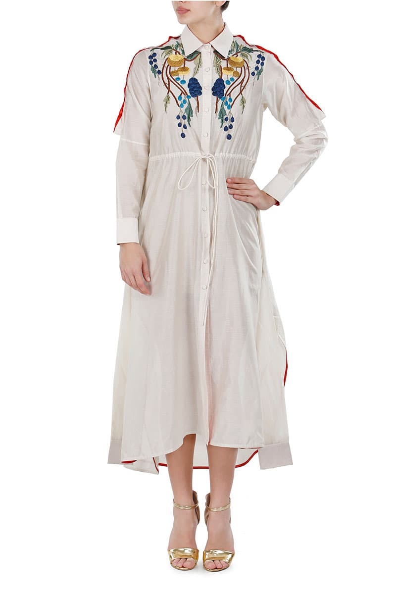 Tie-up Embroidered Full-sleeves Shirt Dress