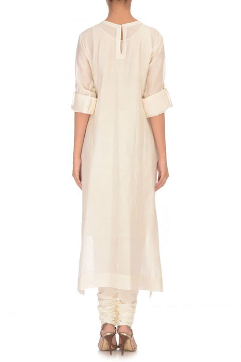 Rolled-up Sleeves Embroidered Kurta