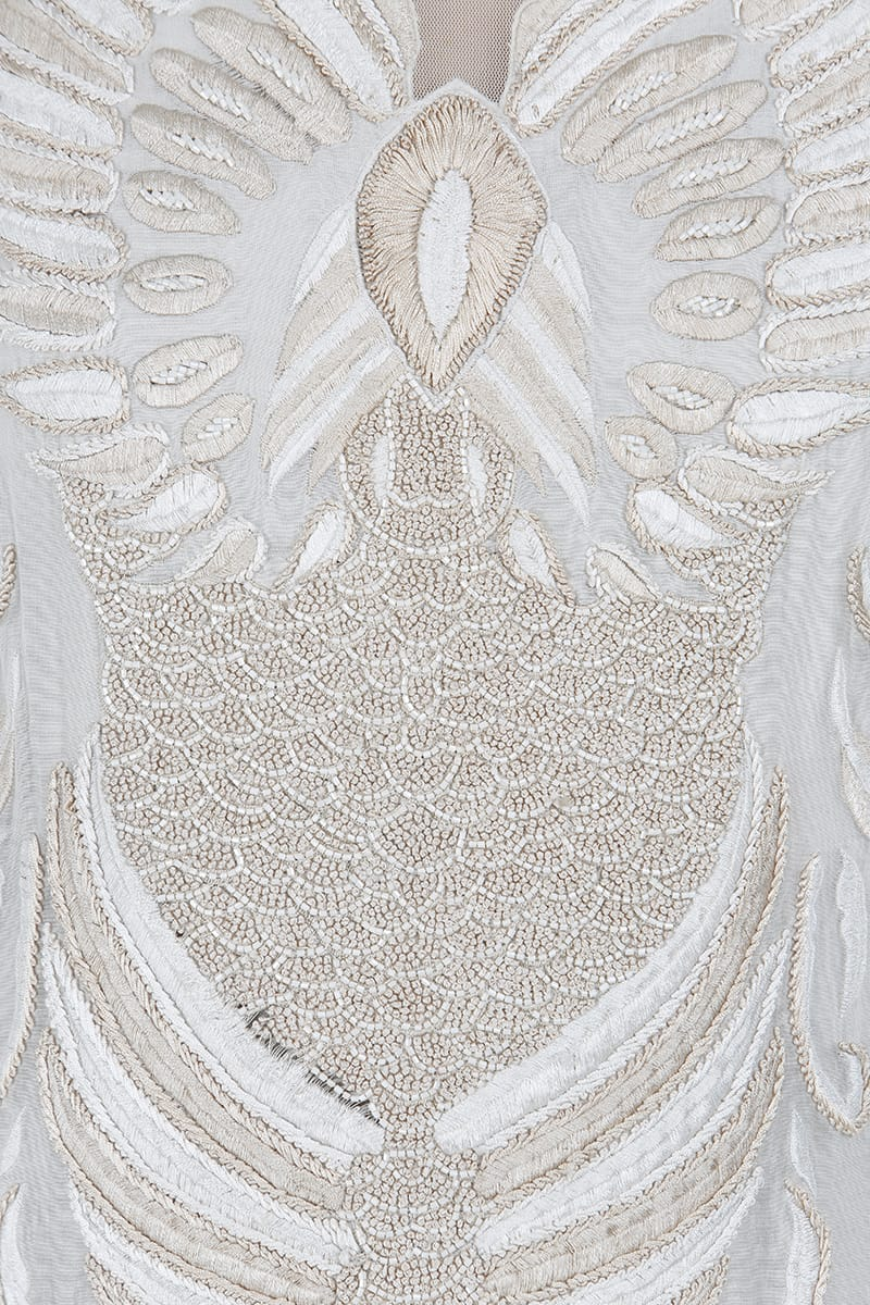 Bird Motifs Embroidered Gown