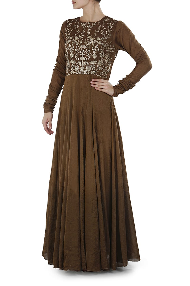Floor-Length Fit & Flare Embroidered Dress