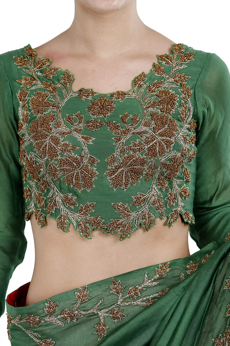 Embroidereed Saree & Blouse Set