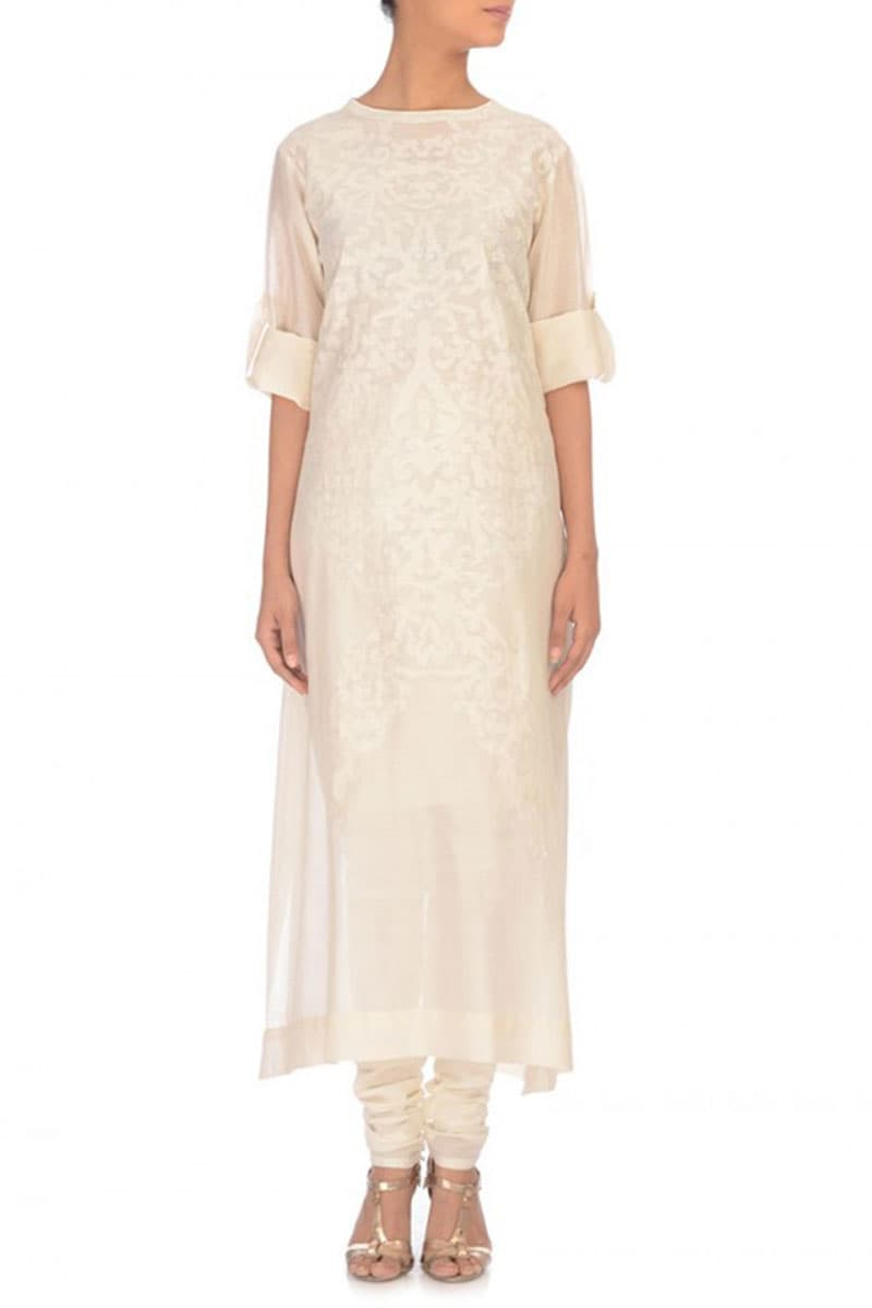 Tone-on-tone Embroidered Kurta