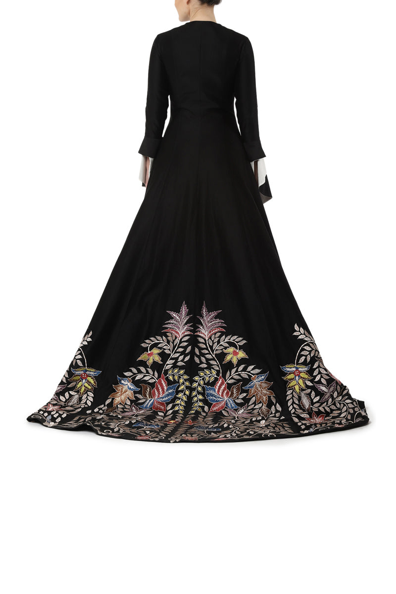 Asymmetrical embroidery gown