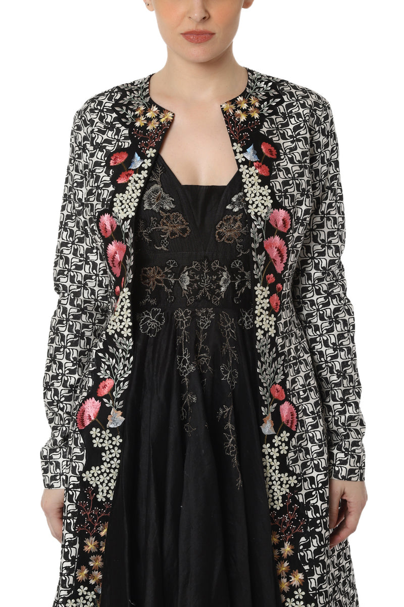 Block printed jacket with inner dress
